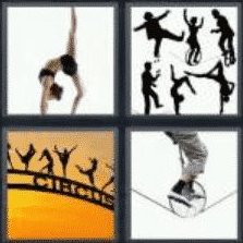 4 PICS 1 WORD ANSWERS 7 LETTERS acrobat