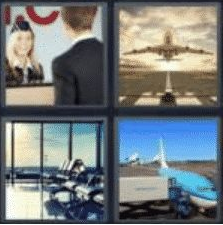 4 PICS 1 WORD ANSWERS 7 LETTERS airport