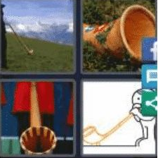4 PICS 1 WORD ANSWERS 7 LETTERS alphorn