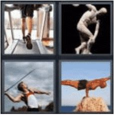4 PICS 1 WORD ANSWERS 7 LETTERS athlete