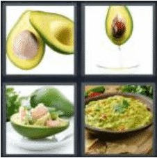 4 PICS 1 WORD ANSWERS 7 LETTERS avocado