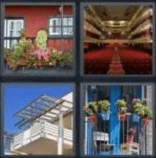 4 PICS 1 WORD ANSWERS 7 LETTERS balcony