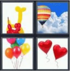 4 PICS 1 WORD ANSWERS 7 LETTERS balloon