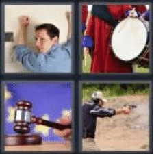 4 PICS 1 WORD ANSWERS 7 LETTERS banging