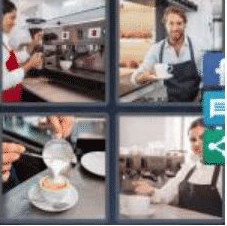 4 PICS 1 WORD ANSWERS 7 LETTERS barista