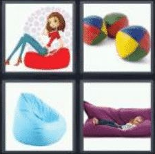 4 PICS 1 WORD ANSWERS 7 LETTERS beanbag