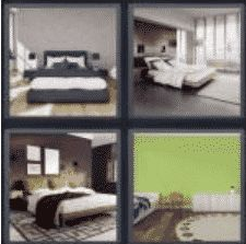 4 PICS 1 WORD ANSWERS 7 LETTERS bedroom