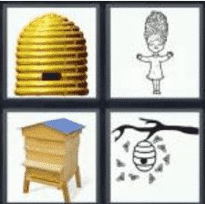 4 PICS 1 WORD ANSWERS 7 LETTERS beehive