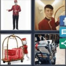 4 PICS 1 WORD ANSWERS 7 LETTERS bellboy