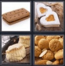 4 PICS 1 WORD ANSWERS 7 LETTERS biscuit