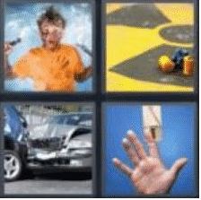 4 PICS 1 WORD ANSWERS 8 LETTERS accident