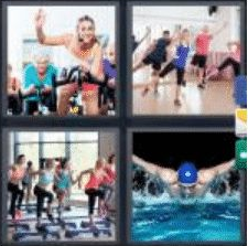 4 PICS 1 WORD ANSWERS 8 LETTERS aerobics