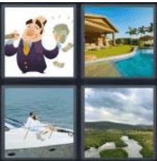 4 PICS 1 WORD ANSWERS 8 LETTERS affluent