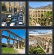 4 PICS 1 WORD ANSWERS 8 LETTERS aqueduct