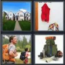 4 PICS 1 WORD ANSWERS 8 LETTERS backpack