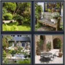 4 PICS 1 WORD ANSWERS 8 LETTERS backyard
