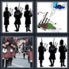 4 PICS 1 WORD ANSWERS 8 LETTERS bagpipes