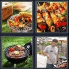 4 PICS 1 WORD ANSWERS 8 LETTERS barbecue