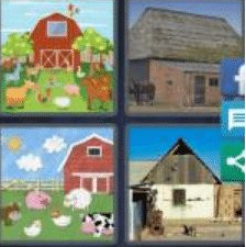 4 PICS 1 WORD ANSWERS 8 LETTERS barnyard