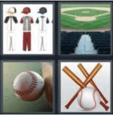 4 PICS 1 WORD ANSWERS 8 LETTERS baseball