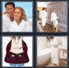 4 PICS 1 WORD ANSWERS 8 LETTERS bathrobe
