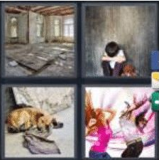 4 PICS 1 WORD ANSWERS 9 LETTERS abandoned