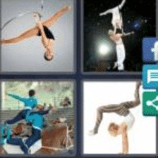 4 PICS 1 WORD ANSWERS 9 LETTERS acrobatic