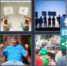 4 PICS 1 WORD ANSWERS 9 LETTERS activists