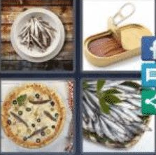 4 PICS 1 WORD ANSWERS 9 LETTERS anchovies