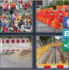 4 PICS 1 WORD ANSWERS 9 LETTERS barricade