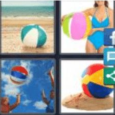 4 PICS 1 WORD ANSWERS 9 LETTERS beachball