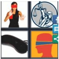 4 PICS 1 WORD ANSWERS 9 LETTERS blindfold