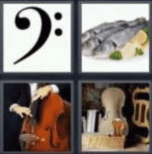 4 Pics 1 Word 4 Letter Answer bass