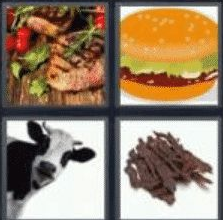 4 Pics 1 Word 4 Letter Answer beef