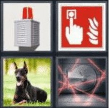 4 Pics 1 Word 5 Letter Answer alarm