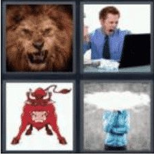 4 Pics 1 Word 5 Letter Answer angry