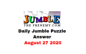 jumble puzzle Answers 27 August 2020 Daily