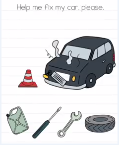 Brain Test Help me fix my car Answers Puzzle