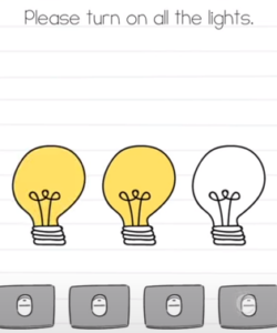 Brain Test Please turn on all the lights Answers Puzzle