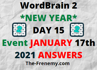 Wordbrain 2 New Year Day 15 January 17 2021 Answers