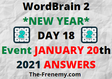 Wordbrain 2 New Year Day 18 January 20 2021 Answers