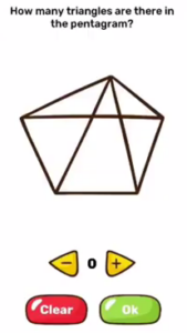 Brain Blow How many triangles are there in the pentagram Answers Puzzle