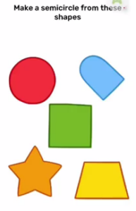 Brain Blow Make a semicircle from these shapes Answers Puzzle