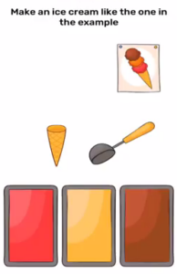 Brain Blow Make an ice cream like the one in the example Answers Puzzle