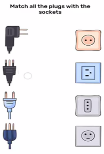 Brain Blow Match all the plugs with the sockets Answers Puzzle