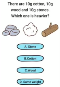 Brain Boom There are 10g cotton Answers Puzzle