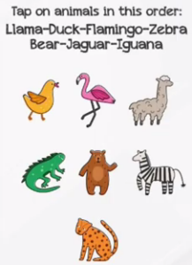 Braindom Level 290 Tap on animals in this order Answers Puzzle