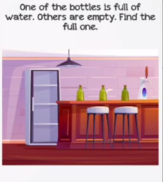 Braindom Level 38 One of the bottles is full of water Answers Puzzle