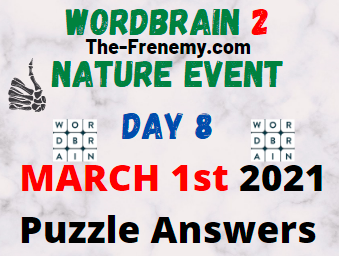 Wordbrain 2 Nature Event Day 8 March 1 2021 Answers