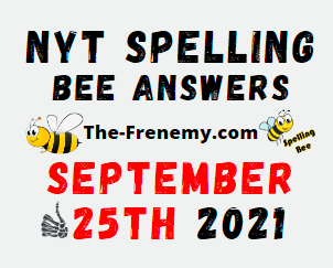NYT Spelling Bee Daily Puzzle September 25 2021 Answers